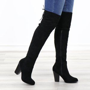 *Restock Thigh High Heeled Boots With Lace Up Back